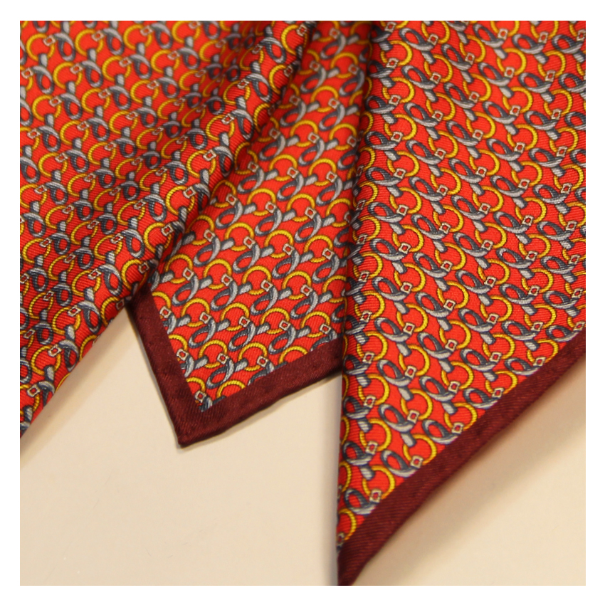 Hand Rolled Hem Mens Silk Pocket Square Made In Italy