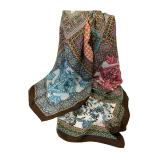 women - SCARVES AND LONG SCARVES - 140x180 Silk Crepe Mosaico Marrone