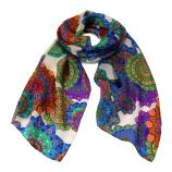 women - SCARVES AND LONG SCARVES - 45x180 Silk Tosca Bianco Viola