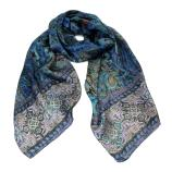 women - Scarves - 45x180 Silk Turandot Blu