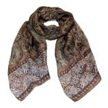 women - SCARVES AND LONG SCARVES - 45x180 Silk Turandot Marrone