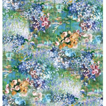 DONNA - FOULARD - 90x90 Raso Monet Colorato Petrol