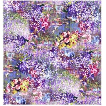 DONNA - FOULARD - 90x90 Raso Monet Colorato Viola
