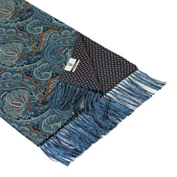 men - SCARVES - DOUBLE SILK Leonardo Blu Marrone