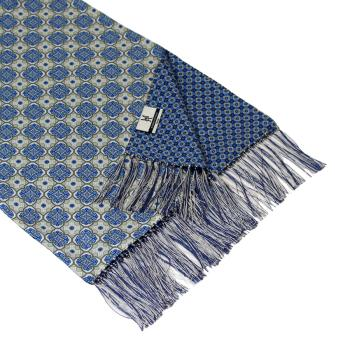 men - SCARVES - DOUBLE SILK Michelangelo Blu Bianco