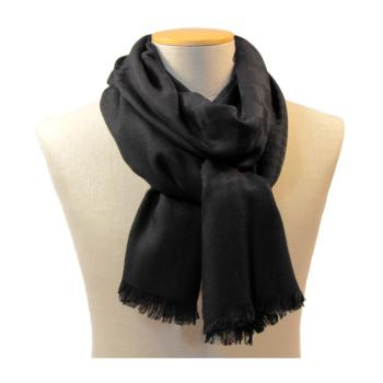 women - LONG SCARVES - 70x200 wool cashmere silk Ascanio Nero