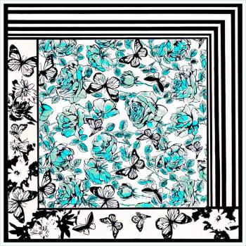 women - SQUARES - 50X50 SILK AA8045 Acquarello