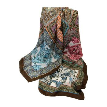 women - SCARVES AND LONG SCARVES - 140x180 Silk Crepe LN0001CT Mosaico