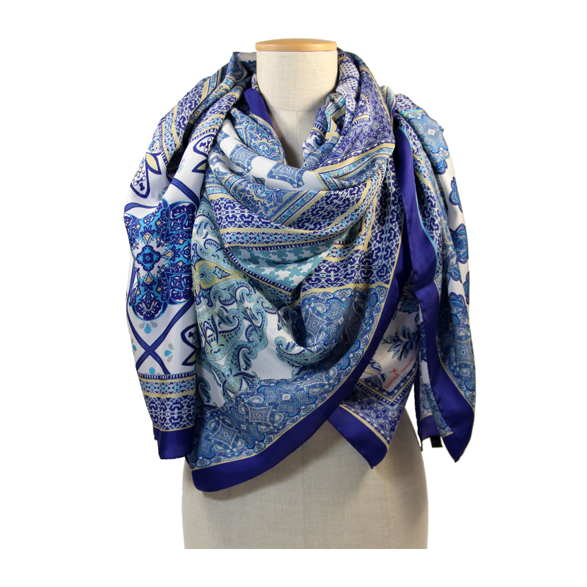 women - LONG SCARVES - 140x180 Silk Crepe Mosaico Blu 545_152__4.jpg