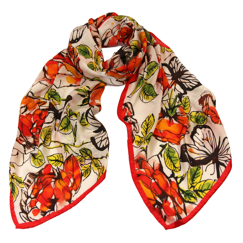 women - SCARVES AND LONG SCARVES - 45x180 Silk Acquarello Rosso