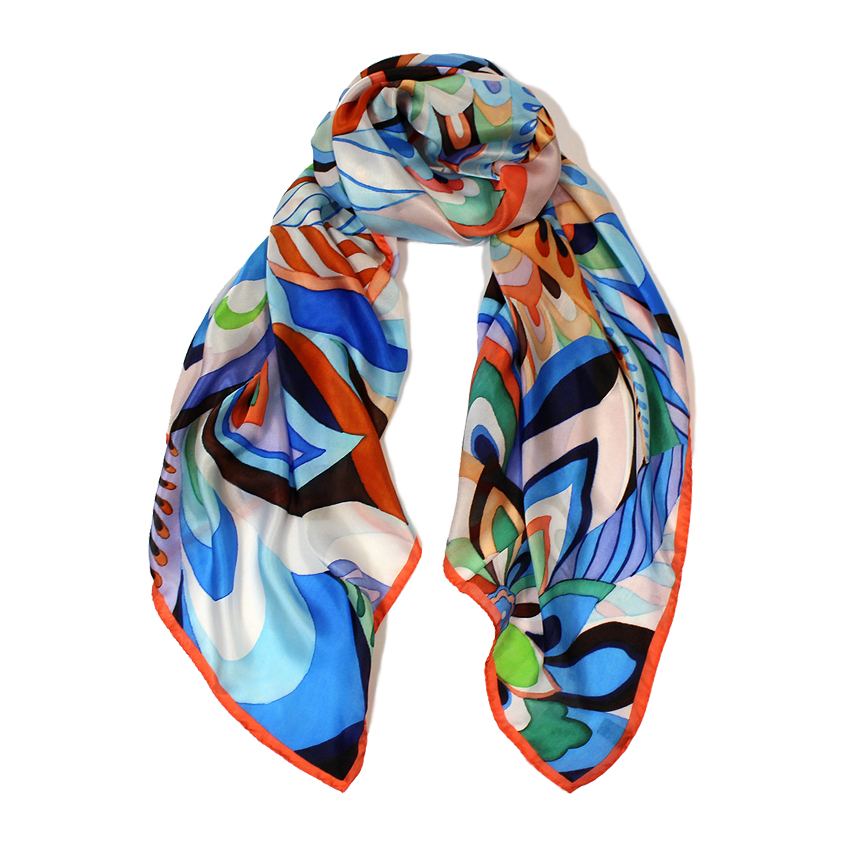 women - SCARVES AND LONG SCARVES - 70X180 SILK Arco Iris Blu