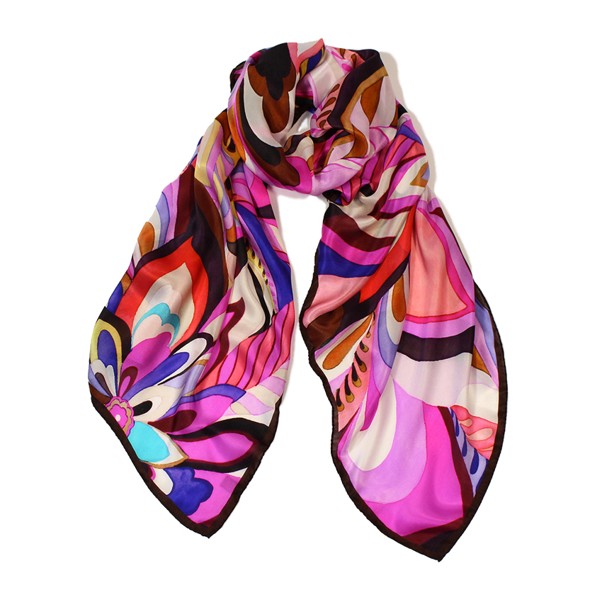 women - SCARVES AND LONG SCARVES - 70X180 SILK Arco Iris Viola