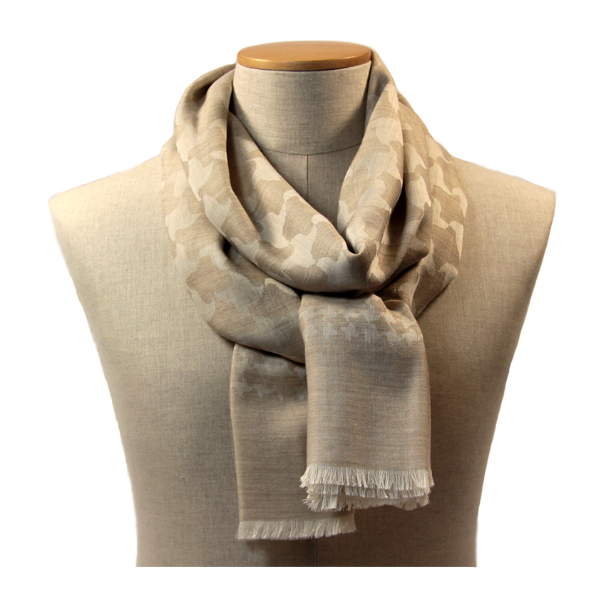 women - SCARVES AND LONG SCARVES - 70x200 wool cashmere silk Ascanio Beige