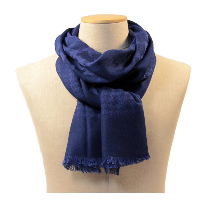 women - SCARVES AND LONG SCARVES - 70x200 wool cashmere silk Ascanio Blu