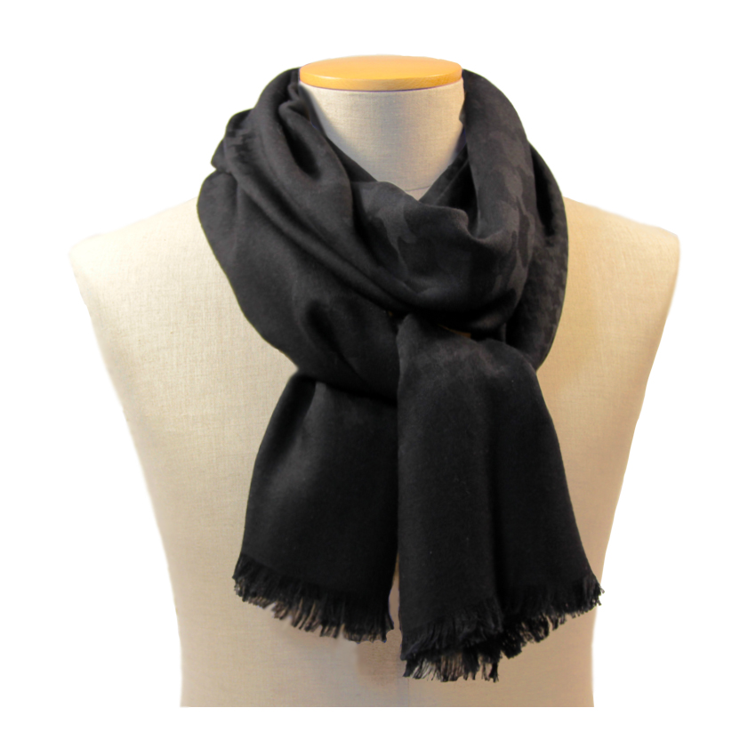 women - SCARVES AND LONG SCARVES - 70x200 wool cashmere silk Ascanio Nero