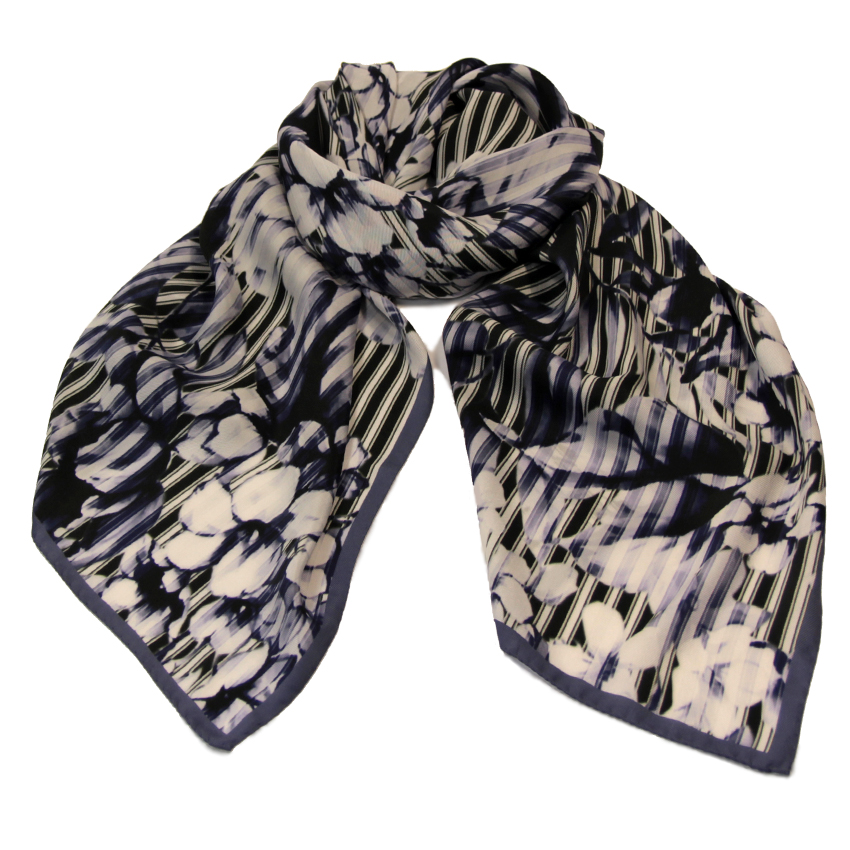 women - SCARVES AND LONG SCARVES - 70x180 Silk Crepe Audacia Grigio