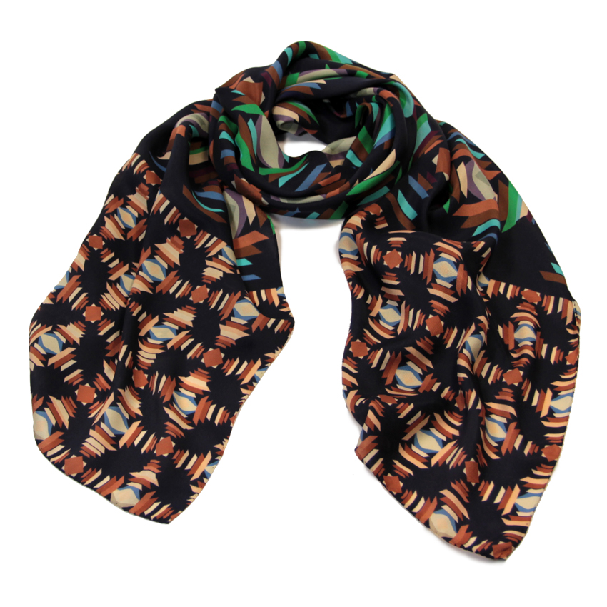 women - SCARVES AND LONG SCARVES - 70x180 Silk Crepe Battito Marrone
