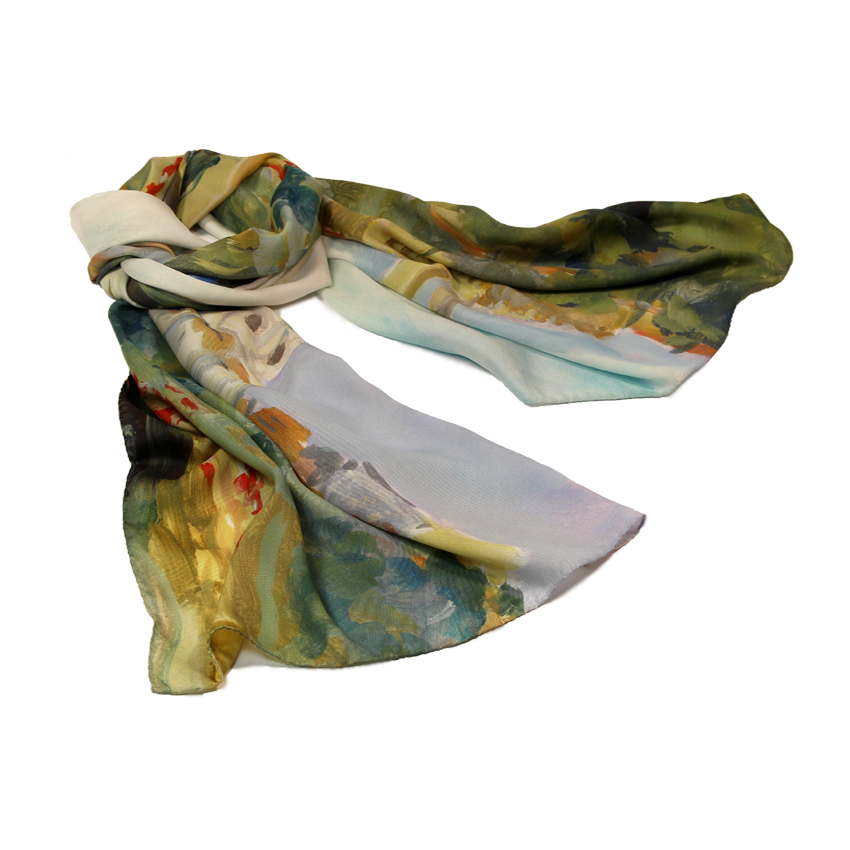 women - SCARVES AND LONG SCARVES - 70x180 Silk Crepe Campagna Fiorentina Campagna Fiorentina
