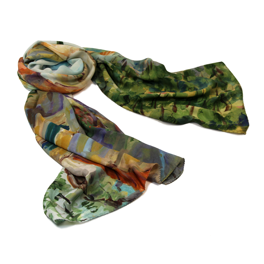 women - SCARVES AND LONG SCARVES - 70x180 Silk Crepe Campagna Toscana Campagna Toscana