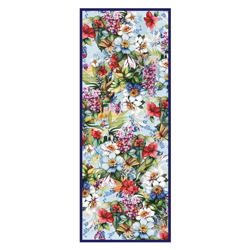 women - SCARVES AND LONG SCARVES - 70X180 SILK Campo di Fiori Blu