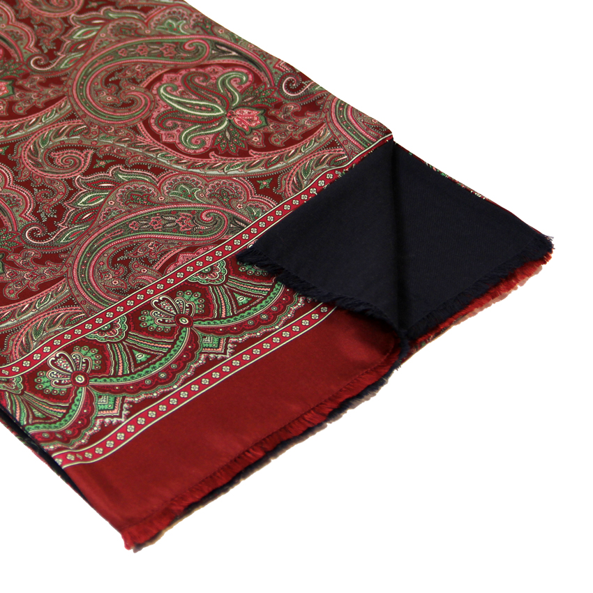 men - SCARVES - Silk lined in wool Caravaggio Bordeaux