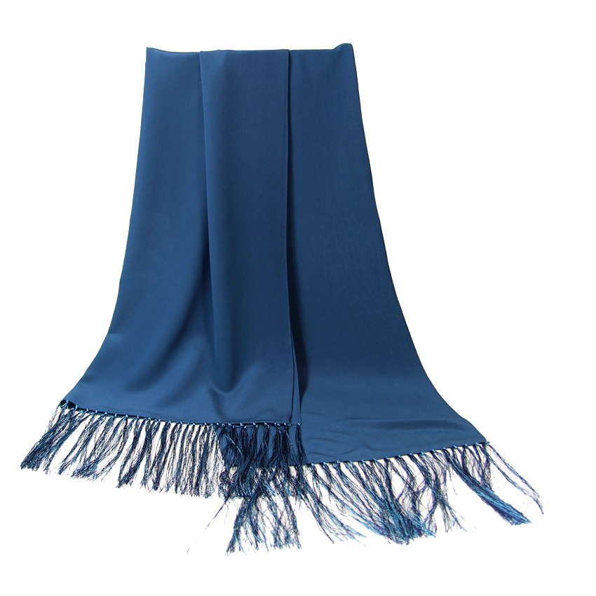 women - SCARVES AND LONG SCARVES - 70x200 Crepe De Chine Cerimonia Blu