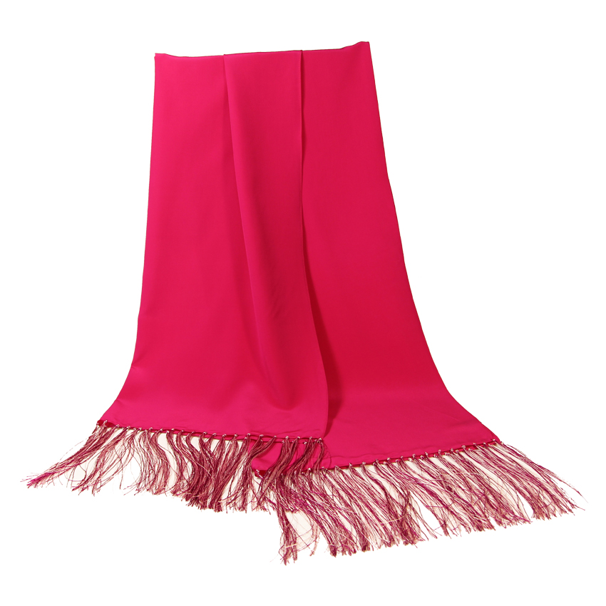 women - SCARVES AND LONG SCARVES - 70x200 Crepe De Chine Cerimonia Fucsia
