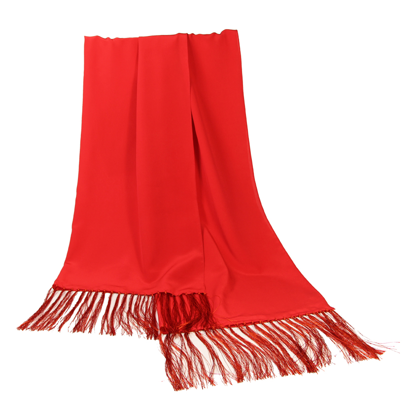women - SCARVES AND LONG SCARVES - 70x200 Crepe De Chine Cerimonia Rosso