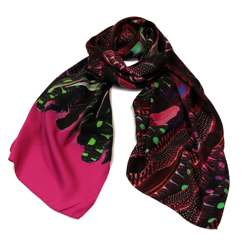women - SCARVES AND LONG SCARVES - 70x180 Silk Crepe Cimiero Fucsia