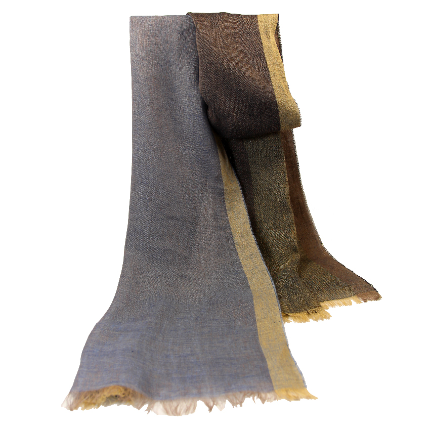 women - SCARVES AND LONG SCARVES - 80x200 Linen Corona Celeste Grigio