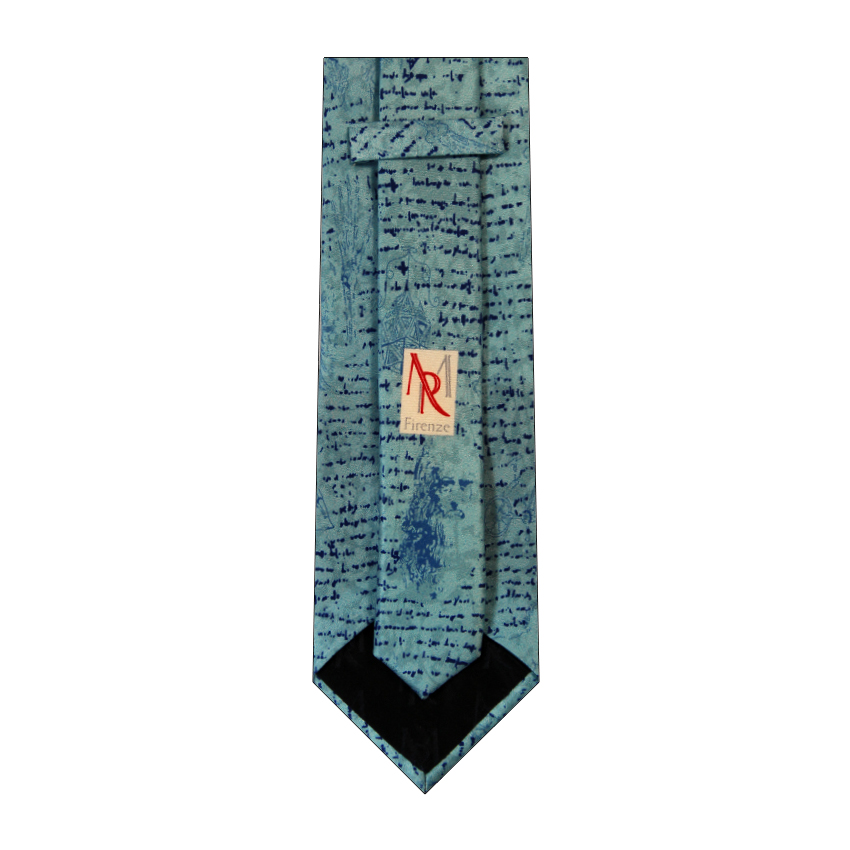 men - TIES - Printed Da Vinci Turchese