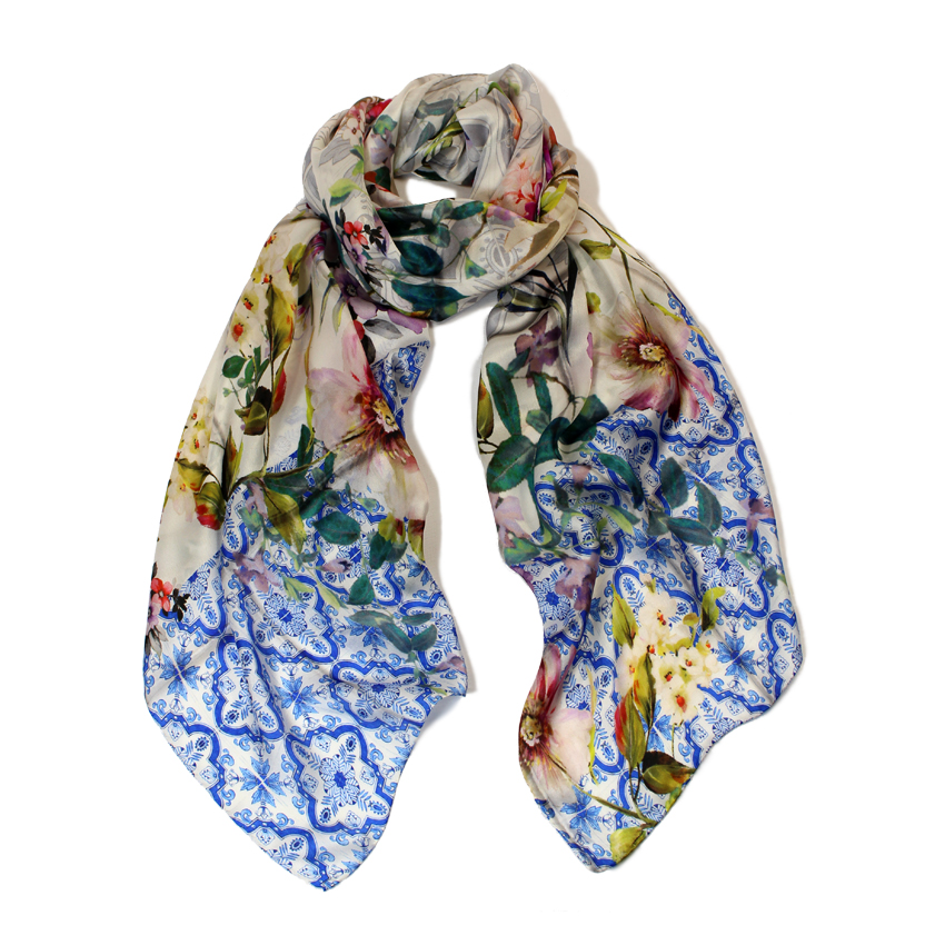 women - SCARVES AND LONG SCARVES - 70X180 SILK Faenza Blu