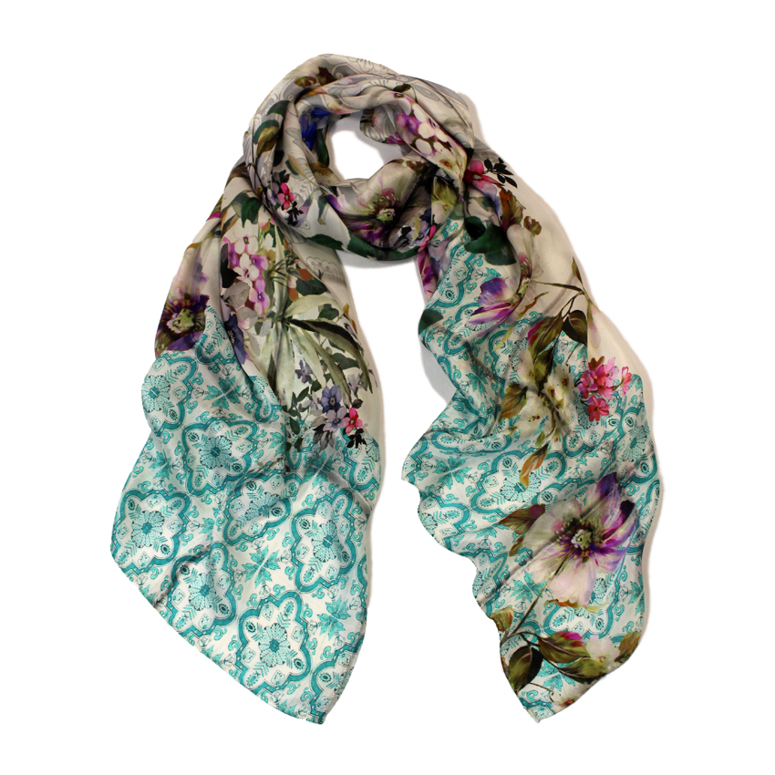 women - SCARVES AND LONG SCARVES - 70X180 SILK Faenza Celeste