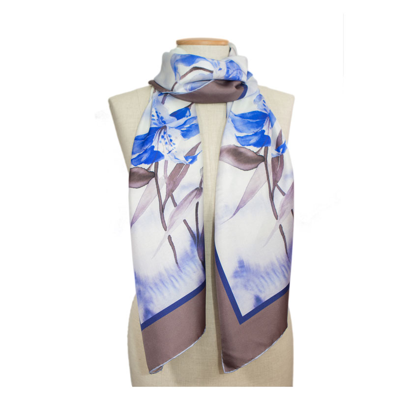 women - SCARVES AND LONG SCARVES - 70X180 SILK Fiordaliso Marrone Blu