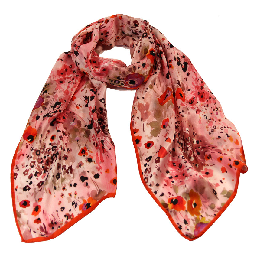 women - SCARVES AND LONG SCARVES - 45x180 Silk Fiore Provenzale Rosso