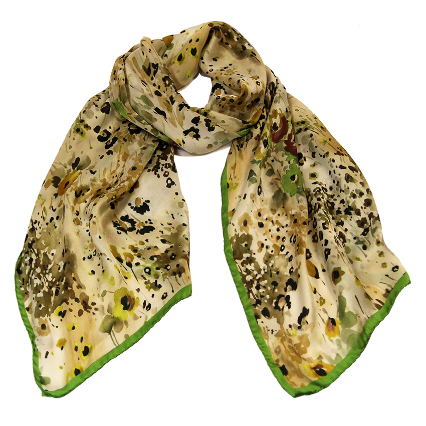women - SCARVES AND LONG SCARVES - 45x180 Silk Fiore Provenzale Verde