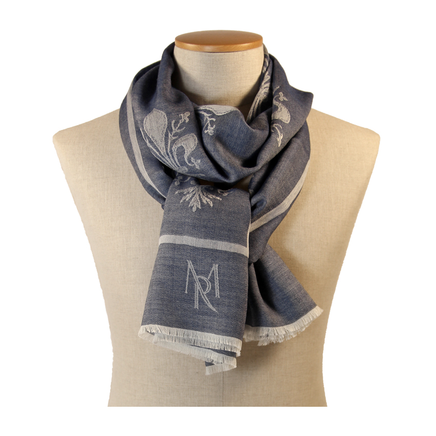 women - SCARVES AND LONG SCARVES - 70x200 Wool Silk Giglio Fiorentino Blu
