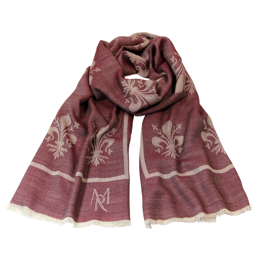 women - SCARVES AND LONG SCARVES - 70x200 Wool Silk Giglio Fiorentino Bordeaux