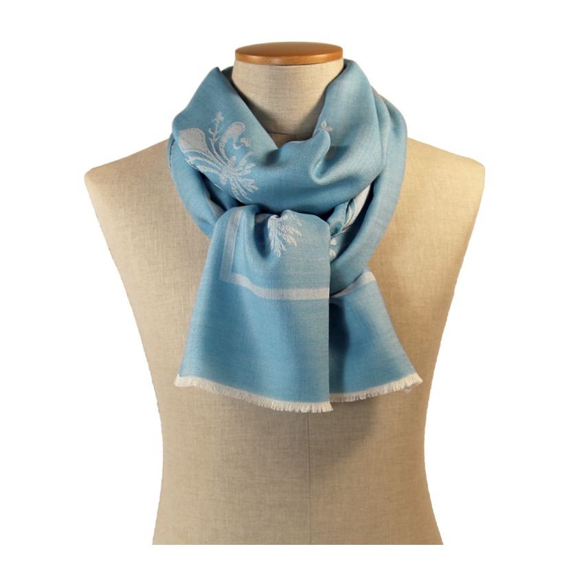 women - SCARVES AND LONG SCARVES - 70x200 Wool Silk Giglio Fiorentino Celeste