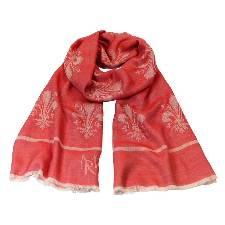 women - SCARVES AND LONG SCARVES - 70x200 Wool Silk Giglio Fiorentino Rosso