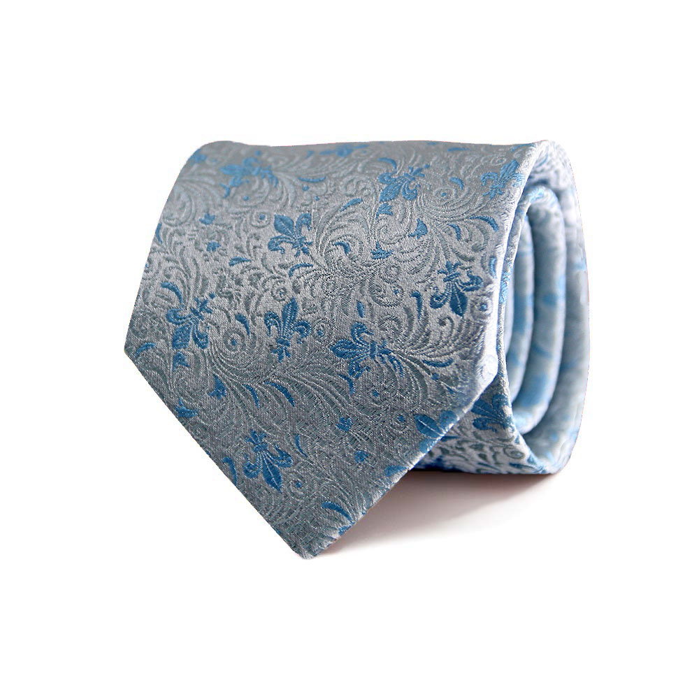 men - TIES - JACQUARD Giglio Ramage CELESTE