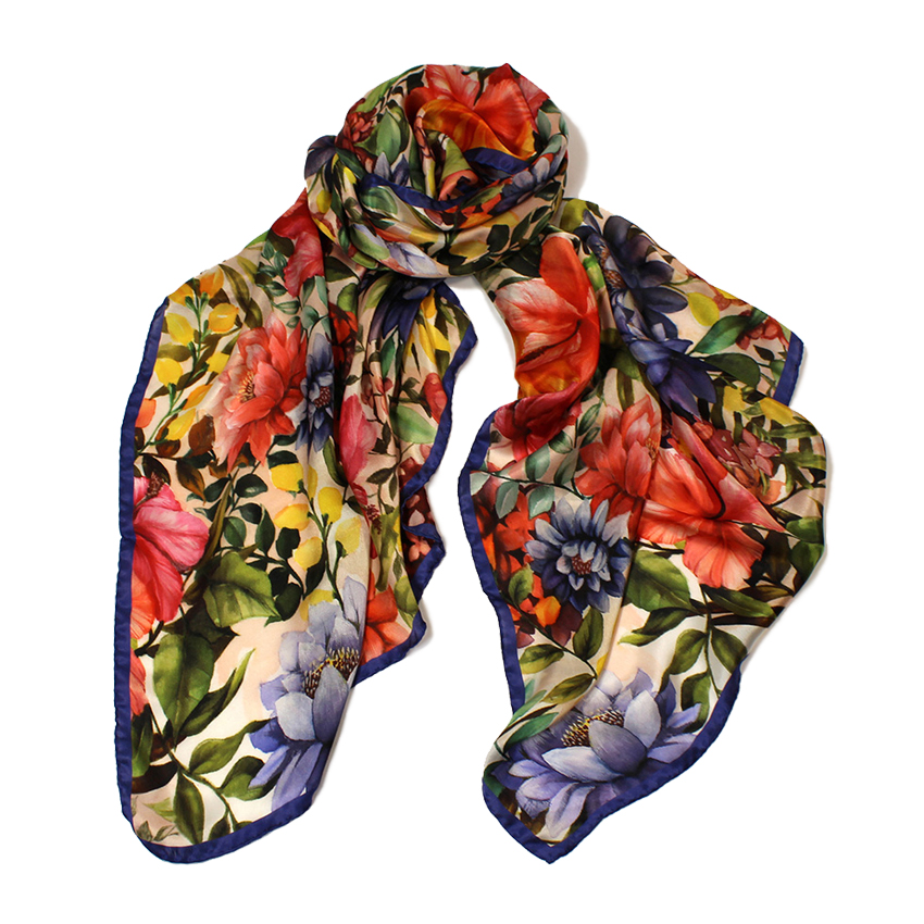 women - SCARVES AND LONG SCARVES - 70X180 SILK Giglio Blu