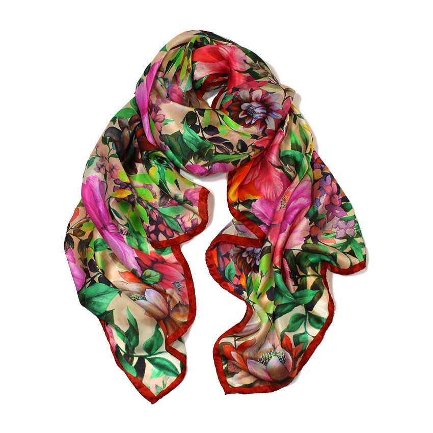 women - SCARVES AND LONG SCARVES - 70X180 SILK Giglio Rosso