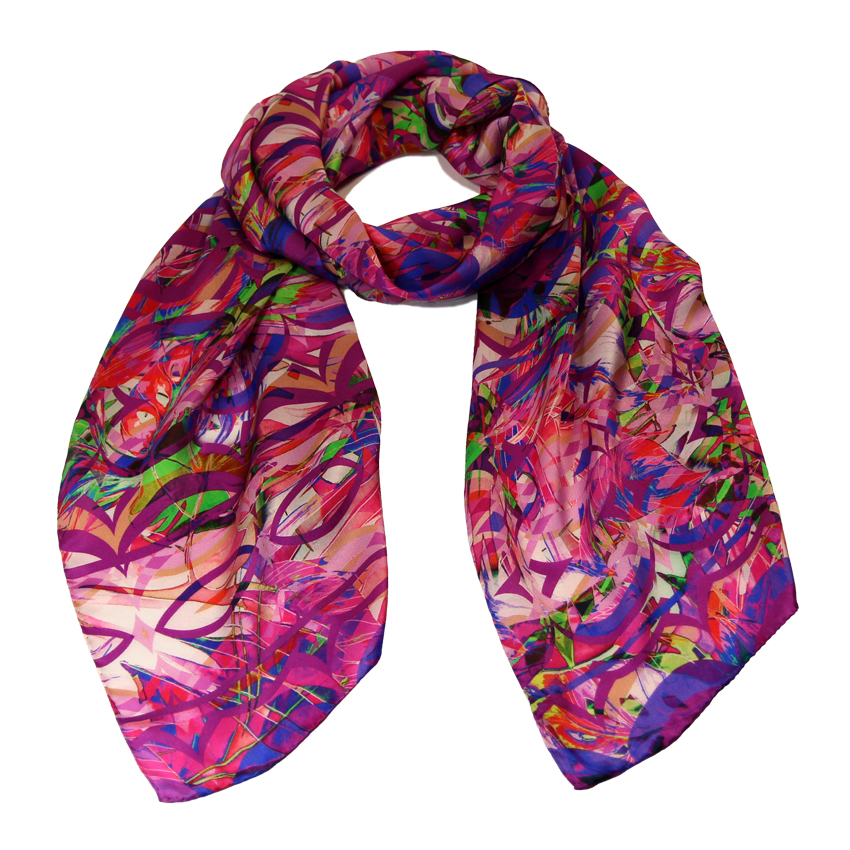 women - SCARVES AND LONG SCARVES - 45x180 Silk Gioioso Fucsia