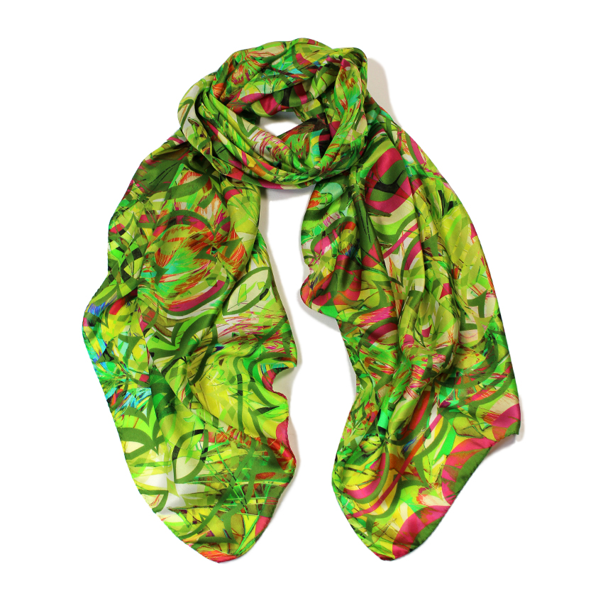 women - SCARVES AND LONG SCARVES - 70X180 SILK Gioioso Verde