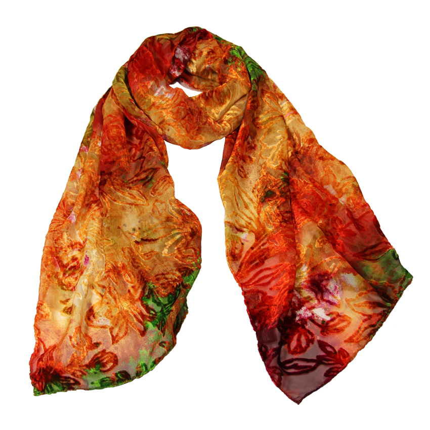 women - SCARVES AND LONG SCARVES - Devorè Luce Rosso Arancio