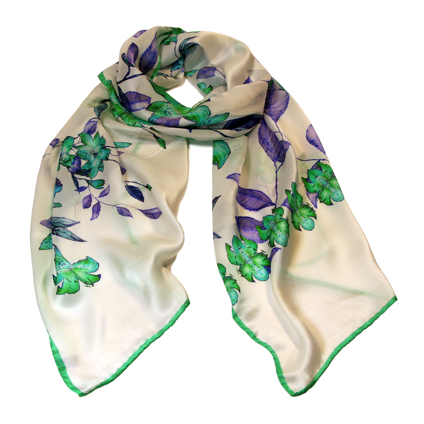 women - SCARVES AND LONG SCARVES - 45x180 Silk Maria Verde