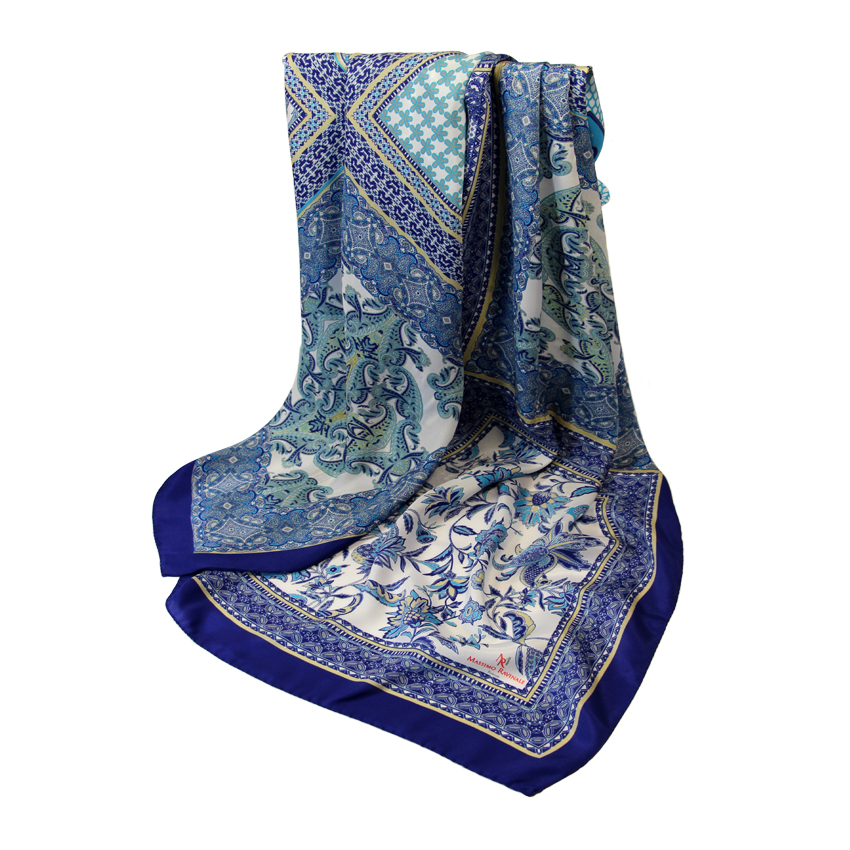 women - SCARVES AND LONG SCARVES - 140x180 Silk Crepe Mosaico Blu