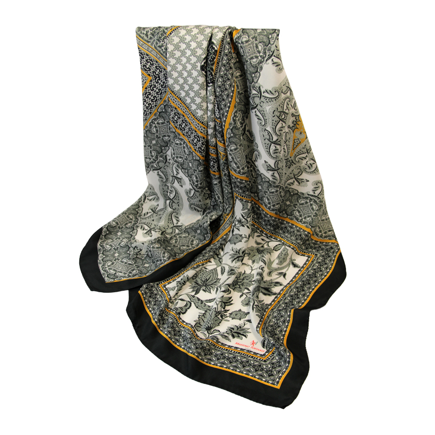women - SCARVES AND LONG SCARVES - 140x180 Silk Crepe Mosaico Nero