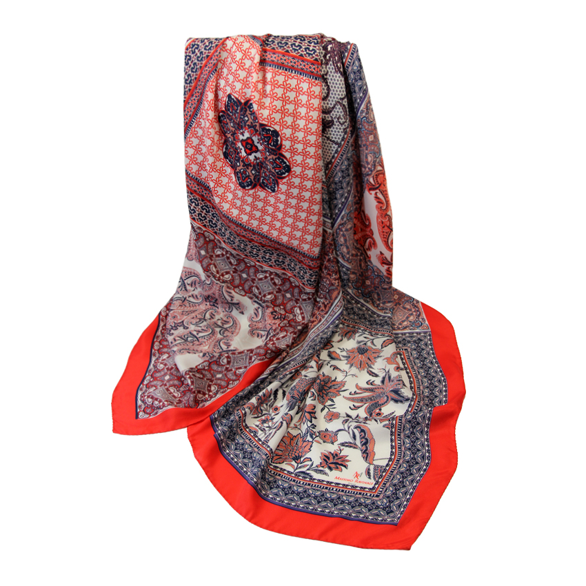 women - SCARVES AND LONG SCARVES - 140x180 Silk Crepe Mosaico Rosso